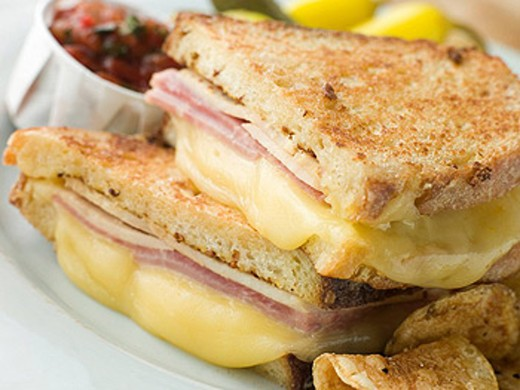 Fried Monte Cristo Sandwich with Salsa and Chips : Stock Photo