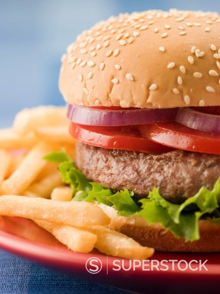 Beef Burger in a Sesame Seed Bun with Fries : Stock Photo