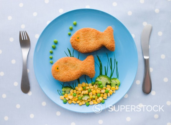 Fish Cakes with Vegetables : Stock Photo
