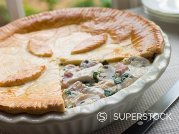 Chicken Gammon and Mushroom Pie : Stock Photo