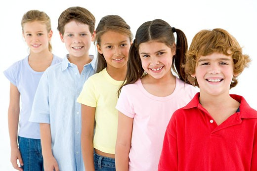 Row of five young friends smiling : Stock Photo