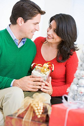 Husband Surprising Wife With Christmas Present : Stock Photo