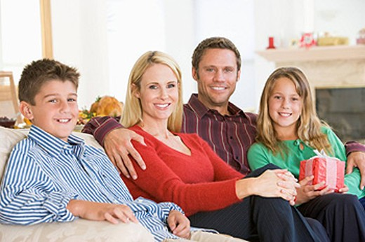 Portrait Of Family At Christmas : Stock Photo