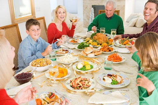 Family All Together At Christmas Dinner : Stock Photo