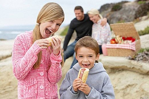 Stock Photo: 1888R-21394 Family Dining Al Fresco At The Beach