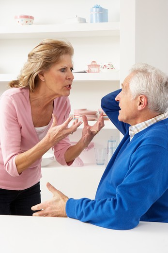 Senior Couple Having Argument At Home : Stock Photo
