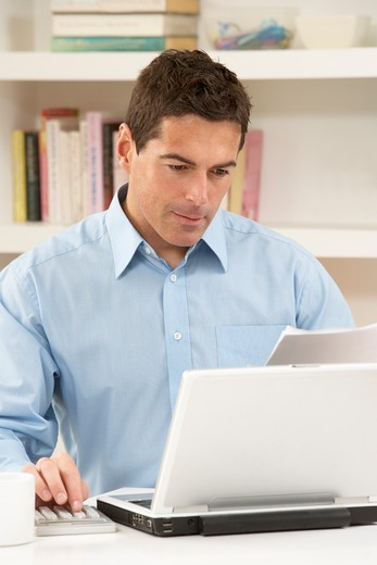 Stock Photo: 1888R-40050 Man Working From Home Using Laptop