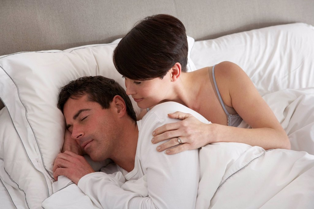 Couple With Problems Having Disagreement In Bed : Stock Photo
