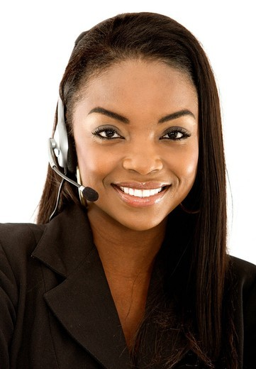 beautiful business customer service woman _ smiling isolated over a white background : Stock Photo