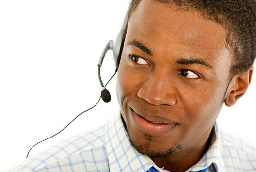 customer service representative _ business man isolated : Stock Photo