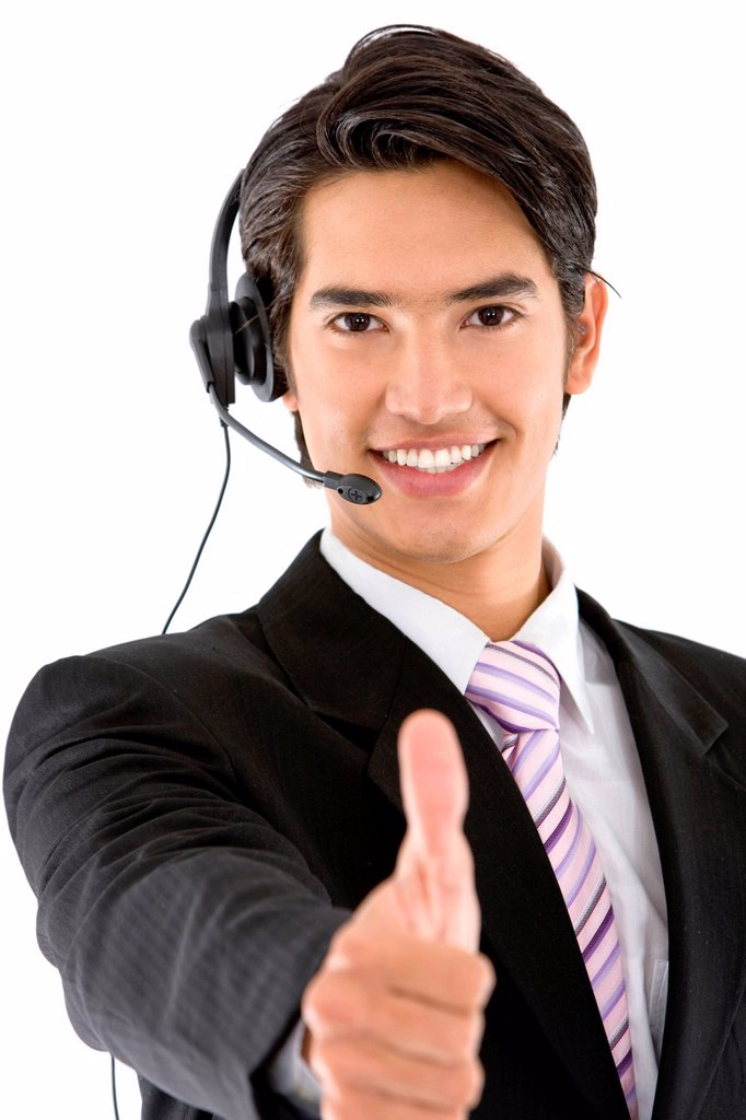 Stock Photo: 1888R-40640 Thumbs_up business man with headset isolated on white