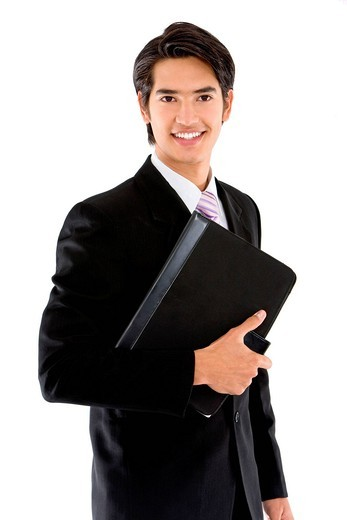 Business man with a portfolio isolated on white : Stock Photo