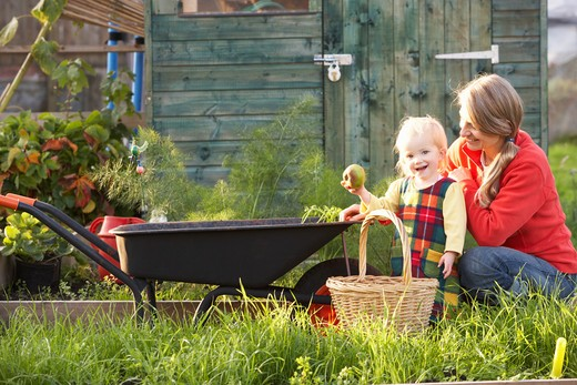 Woman working on allotment with child : Stock Photo