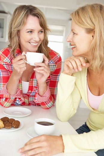 Mid age women chatting over coffee at home : Stock Photo