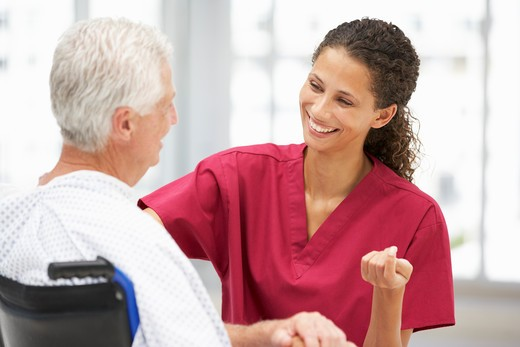 Stock Photo: 1888R-43329 Senior patient with young doctor