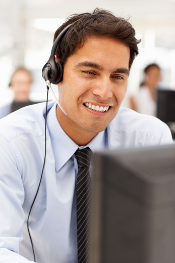 Stock Photo: 1888R-43355 Businessman wearing headset