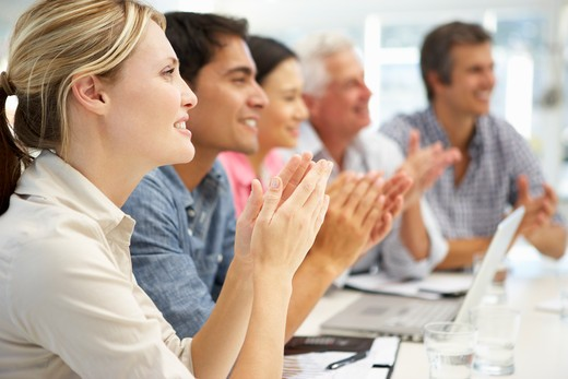 Mixed group in business meeting : Stock Photo