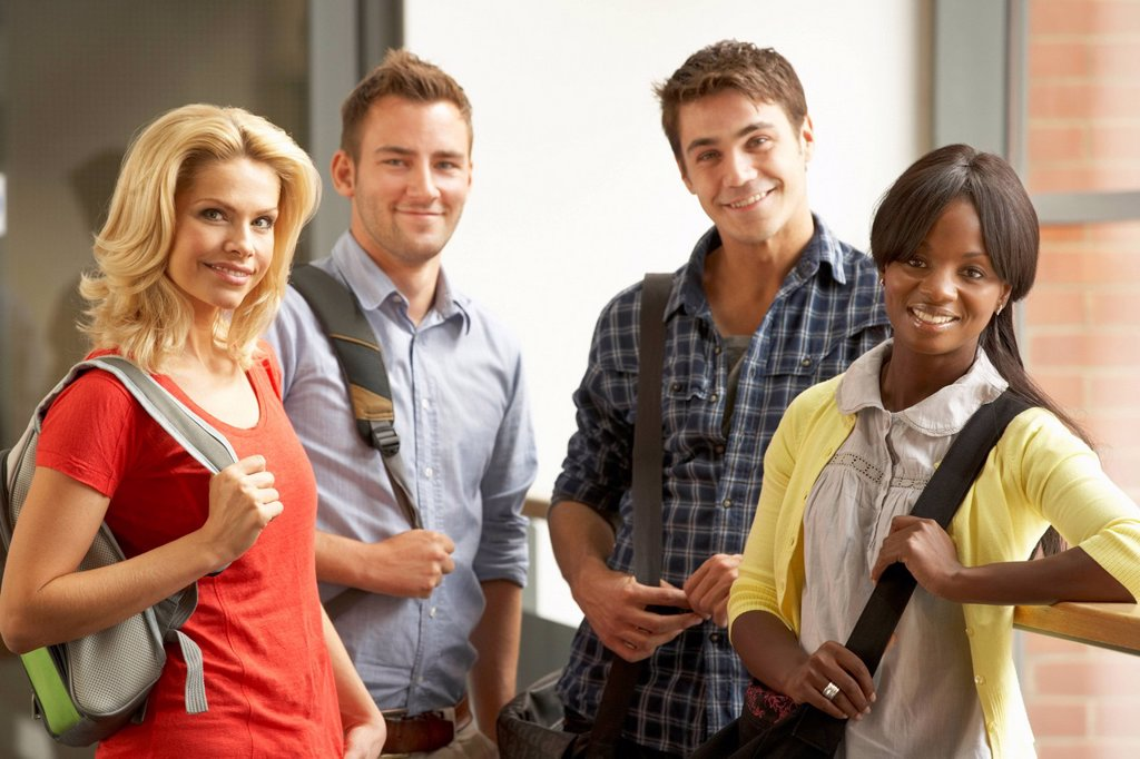 Stock Photo: 1888R-43931 Mixed group of students in college
