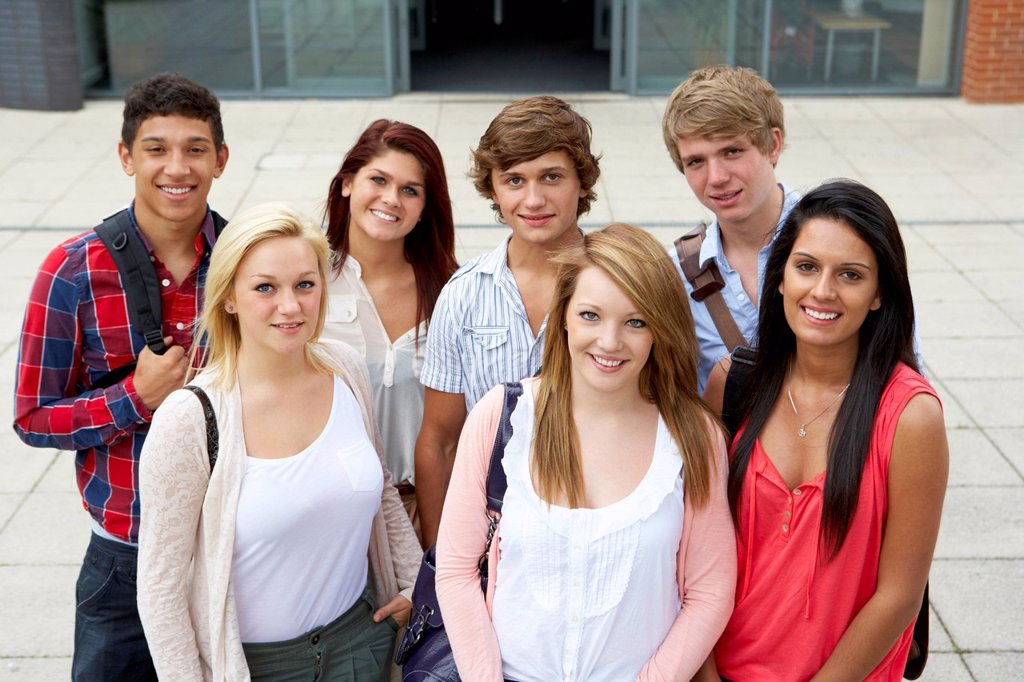 Students outside college : Stock Photo