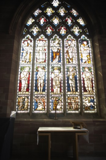 Stock Photo: 1888R-5956 Stained Glass Window In Church