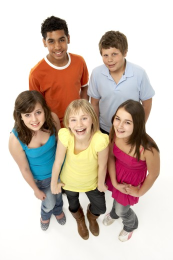 Group Of Five Young Children In Studio : Stock Photo