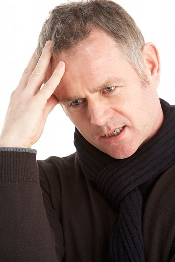 Portrait Of Thoughtful Middle Aged Man : Stock Photo