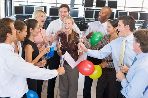 Stock Photo: 1888R-7274 Stock Traders Celebrating In The Office