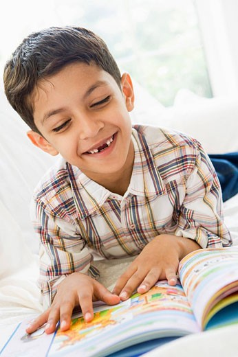 Stock Photo: 1888R-8719 Young boy in living room reading a book and smiling high key