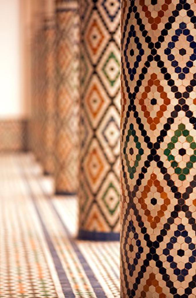 Mosaic tiled pillars inside Mnebhi Palace; Marrakech, Morocco : Stock Photo