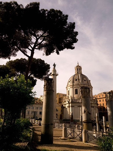 Ruins of old roman temple anch catholic chapel; Rome, Italy : Stock Photo