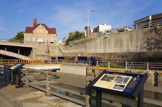 Stock Photo: 1889-41073 Tranquil scene on Erie Canal Locks and Old City Hall; Lockport, New York, USA