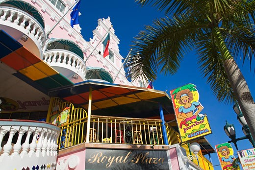 Local achitecture; Royal Plaza Mall, Oranjestad, Aruba Island, Kingdom of the Netherlands. : Stock Photo