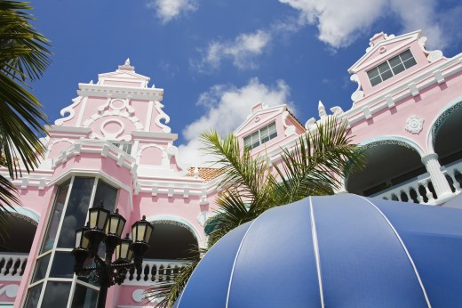 Local architecture; Royal Plaza Mall, Oranjestad, Island of Aruba, Aruba, Kingdom of the Netherlands : Stock Photo