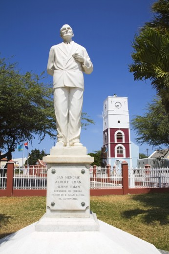 Statue of Jan Hendrik Albert Eman in front of Fort Zoutman; Oranjestad, Island of Aruba, Aruba, Kingdom of the Netherlands : Stock Photo