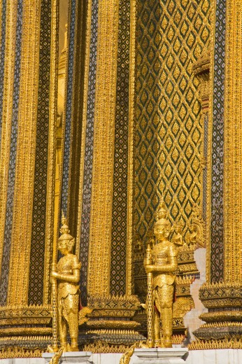 Stock Photo: 1889-41859 Statues guarding Phra Mondop at Royal Grand Palace in Rattanakosin District; Bangkok, Thailand
