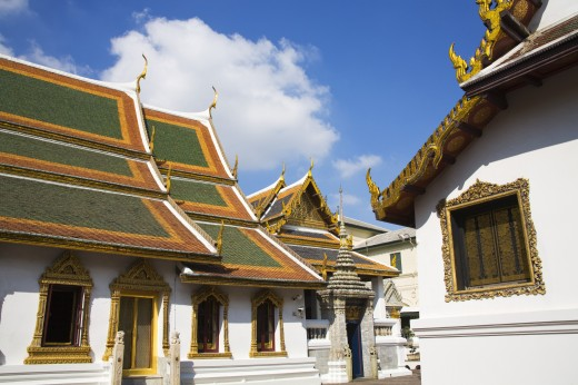 Exterior of Amarindra Winitchai Hall at Royal Grand Palace in Rattanakosin District; Bangkok, Thailand : Stock Photo