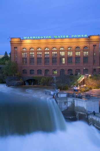Stock Photo: 1889-42004 Lower Falls of Spokane River during major food in Riverfront Park; Spokane, Palouse, Washington, USA