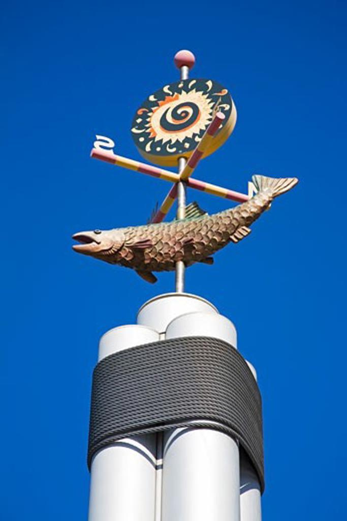 Weather Vane on Information Pole; Seattle, Washington State, USA : Stock Photo
