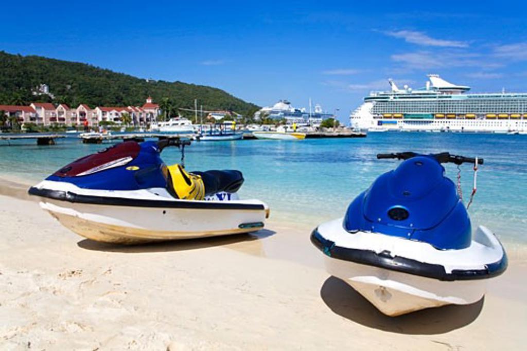 Jet Ski on Turtle Beach; Ocho Rios, St. Ann's Parish, Jamaica, Caribbean : Stock Photo