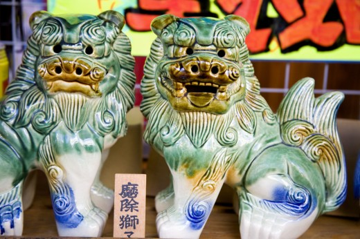 Dragon Statues in Store on Kokusai Street; Naha City, Okinawa Island, Japan : Stock Photo