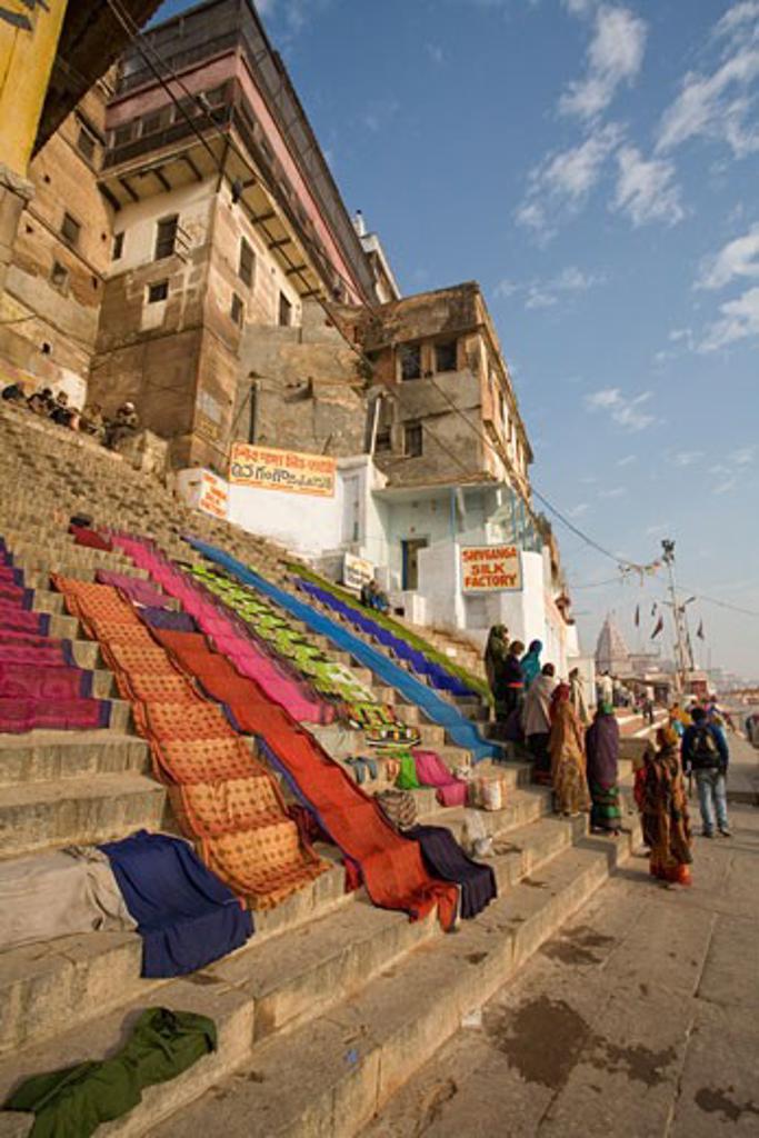 Varanasi, India; Fabric drying on stairs : Stock Photo