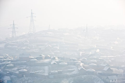 Stock Photo: 1889-43122 Ulaanbaatar, Mongolia; Pollution over cityscape