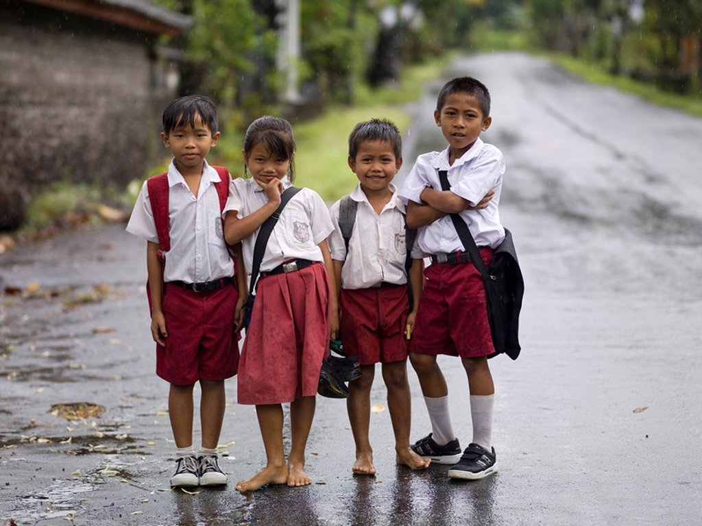 Young students outside : Stock Photo