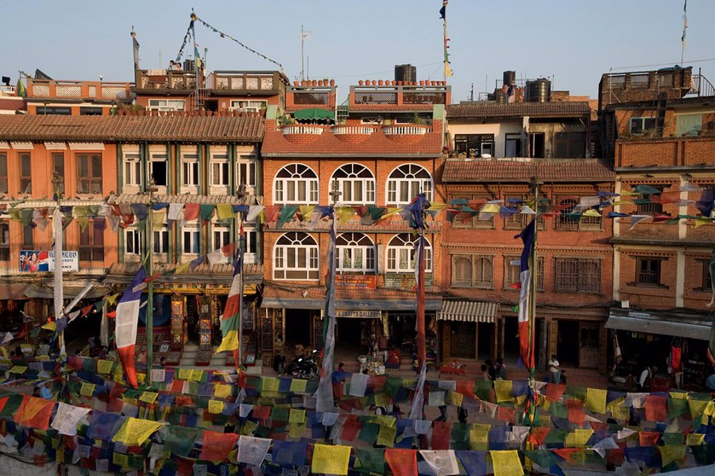 Stock Photo: 1889-44505 Many flags near the Boudhanath Stupa
