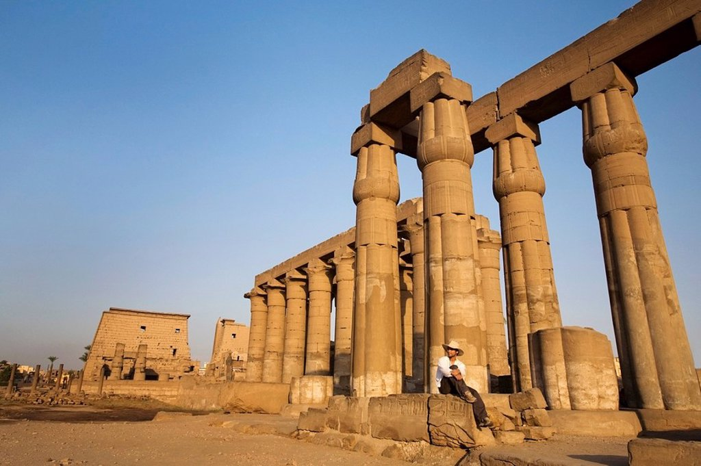 Stock Photo: 1889-44745 Man at Luxor Temple