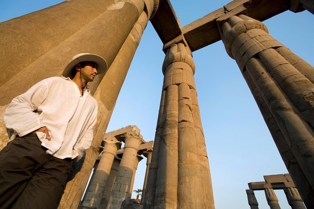 Man at Luxor Temple : Stock Photo