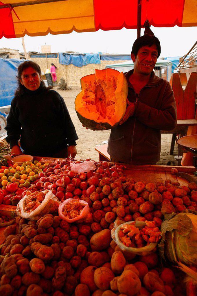 Market stall, Lima, Peru : Stock Photo