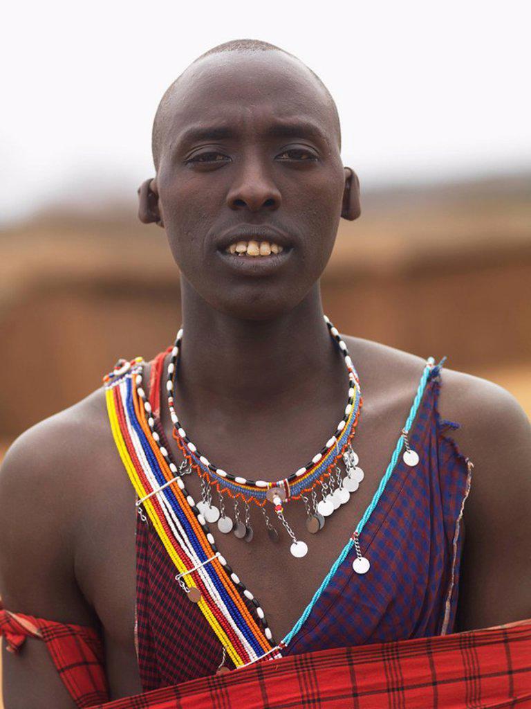 Stock Photo: 1889-45429 Man in Maasai village, Kenya, Africa