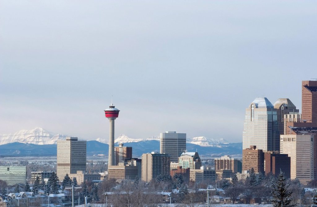 Stock Photo: 1889-45566 City skyline with mountain backdrop, Calgary, Alberta, Canada