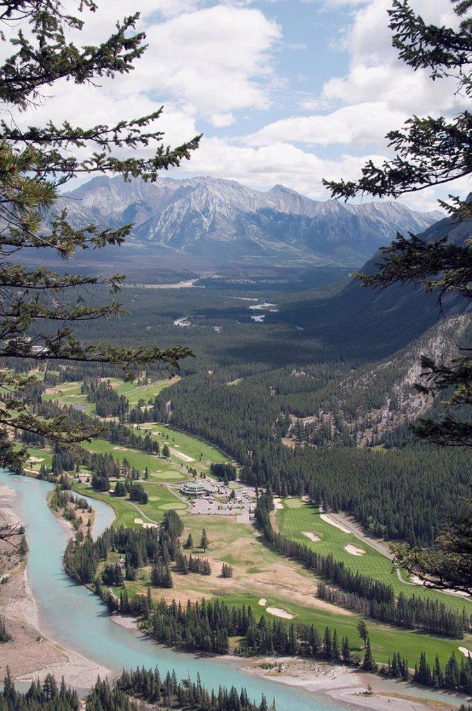 Stock Photo: 1889-45574 Golf course next to Bow River, Banff National Park, Alberta, Canada